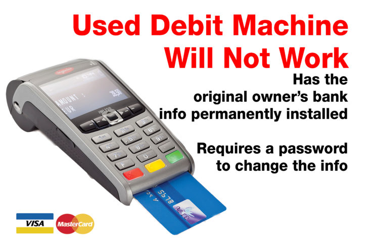Used debit machine from kijji Craigslist classified does not work
